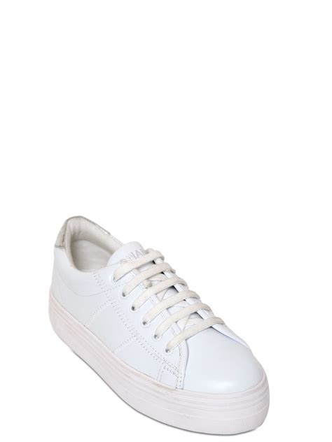 platform white sneakers lyst no name 40mm plato leather platform sneakers in white