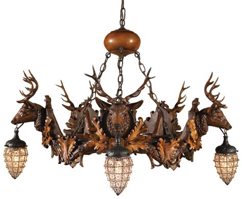 Rustic Chandeliers Black Forest Stag And Globe Chandelier Forest Chandelier