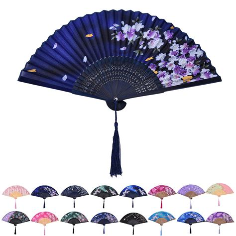 silk folding hand fans chinese hand held fan bamboo silk butterfly flower