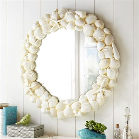 shell bathroom mirror shell mirror tropical wall mirrors by pbteen