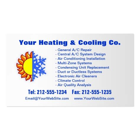 Free Air Conditioning Business Card Templates by Hvac Business Card Templates Bizcardstudio