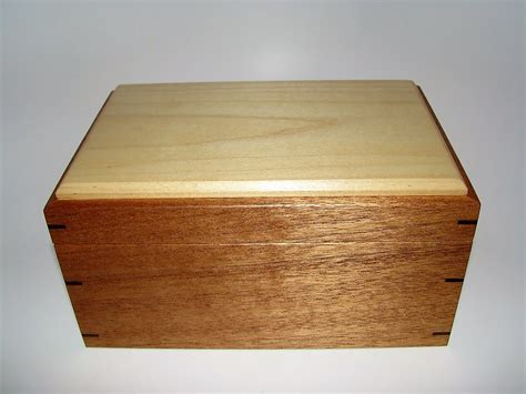 Handcrafted Wooden Box - memory box mahogany and poplar keepsake box 8 75