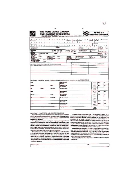free printable home depot application form page 12
