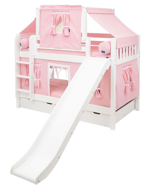 bunk beds with slide maxtrix low bunk bed w straight ladder and slide twin twin