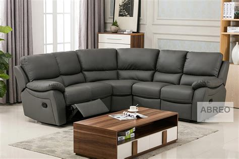 Recliner Sofas by Ludlow Reclining Corner Sofa In Grey Pu Recliner Sofas
