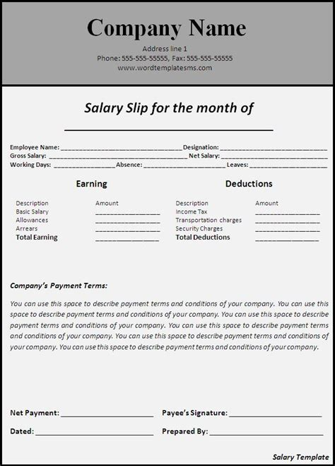salary structure template salary slip template