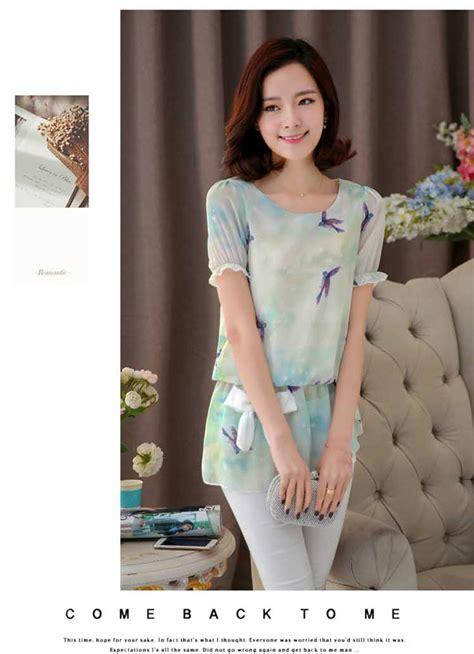 bahan kupu kupu by meowshop blus wanita modern terbaru motif kupu kupu bahan sifon b3032