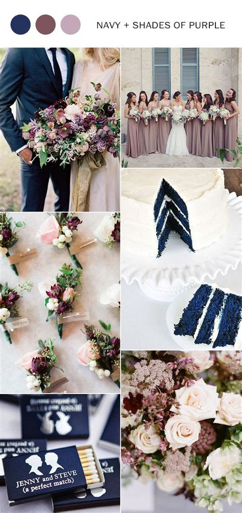 navy blue and shades of purple wedding color ideas for