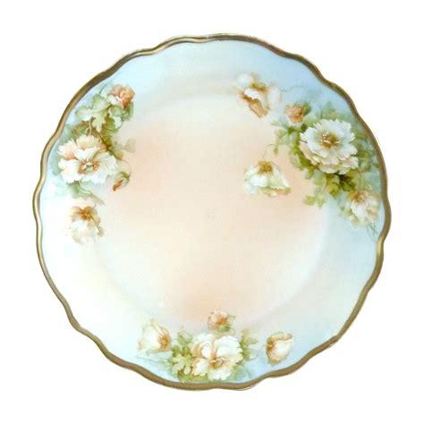 antique porcelain l with roses antique porcelain plate white roses pm bavaria c 1904