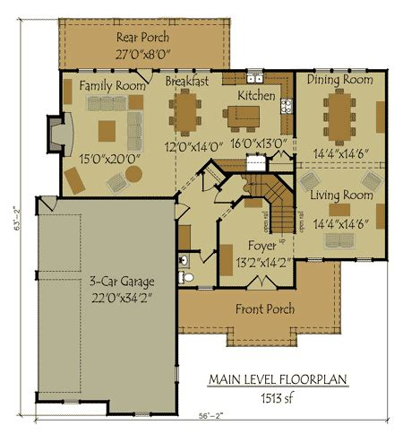 3 Car Garage Floor Plans by Two Story 4 Bedroom Home Plan With 3 Car Garage