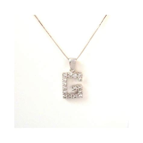 necklace with white gold and cubic zirconia letter pendant