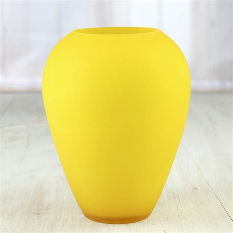 Yellow Glass Vase by Yellow Frosted Glass Vase Table And Shelf Sitters Home