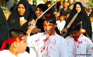 the holy day of ashura muslims spilling blood for their