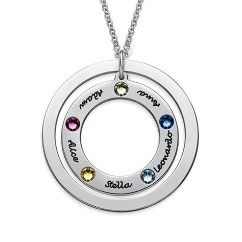 family circle necklace with birthstones mynamenecklace