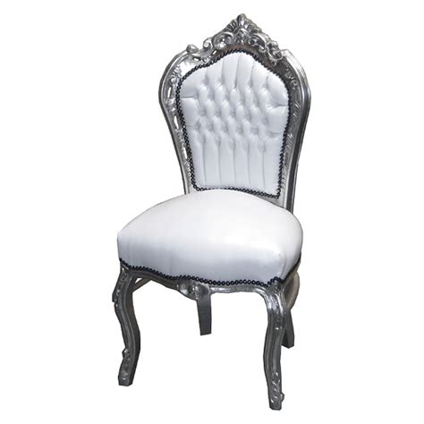 White Chair by Leather Synthetic Silver Leafed White Chair Luxury