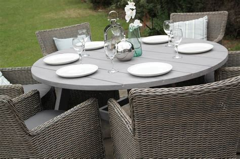 Round Rattan Dining Set 6 Seater Table Furniture   Outdoor