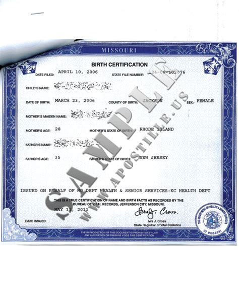 Missouri Birth Certificate Records Authentications Of Documents State Missouri