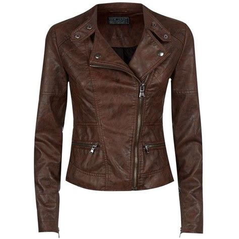 Jaket Murah Parka Chocolate Brown chocolate brown leather look zip pocket biker jacket and other apparel accessories and trends