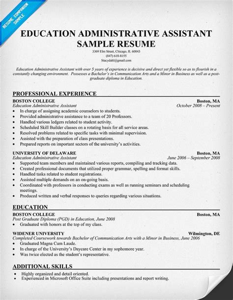 Sle Education Administrative Assistant Resume Resume Exle For Assistant In 28 Images Resume