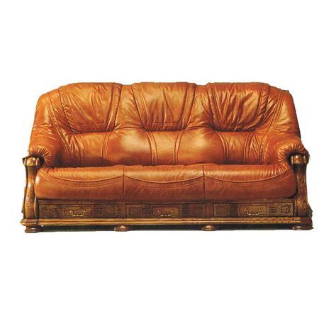 canap 233 3 places cuir et bois avec tiroir anvers mobilier