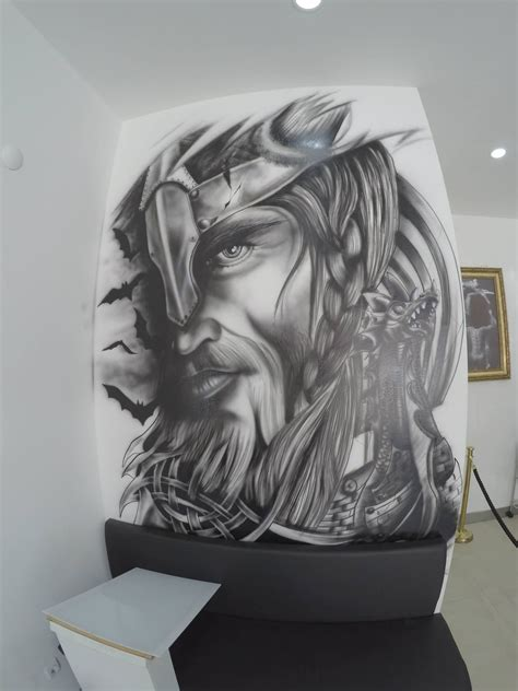 airbrush tattoo designs wiking portrait airbrush drawing design side
