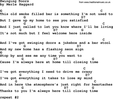 merle haggard swinging doors lyrics swinging doors by merle haggard lyrics and chords