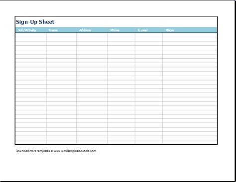 Printable potluck sign up sheet template car pictures