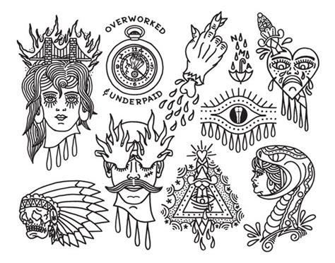 tattoo flash lines flash sheets tattoo flash sheet behance outline