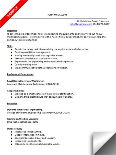 Industrial Maintenance Mechanic Resume Samples Eliolera Com