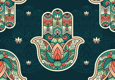 hamsa pattern wallpaper download free vector art stock