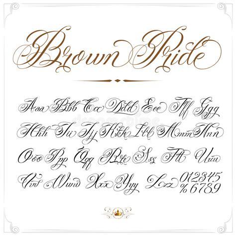 tattoo font signature brown pride tattoo font stock vector illustration of