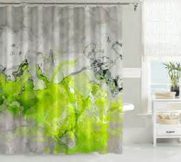 contemporary shower curtain abstract bathroom decor lime