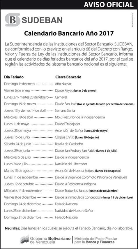 Calendario Bancario 2017 Conozca Los Feriados Bancarios De 2017