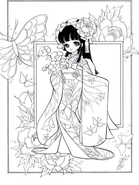 japanese girl kimono coloring page ぬりえ