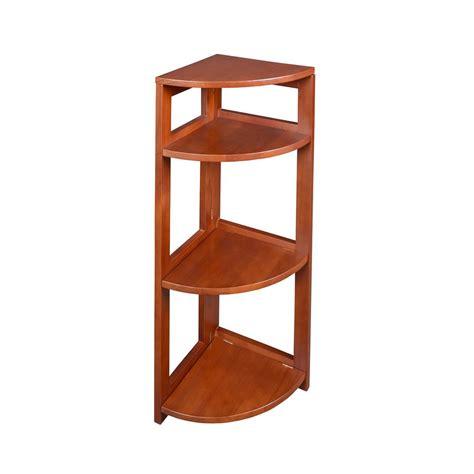 Corner Bookcase Cherry Niche Flip Flop Cherry 3 Shelf Corner Folding Bookcase Ffc3412ch The Home Depot