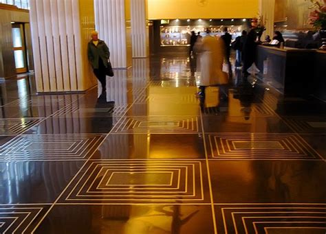 art deco floor black terrazzo with brass inlay floors 30 rock lobby