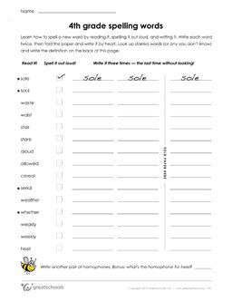 Spelling Worksheets For 4th Grade by Free Printable Worksheets Word Lists And Activities