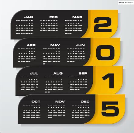 calendar companies 2015 company calendar black with yellow style vector 06