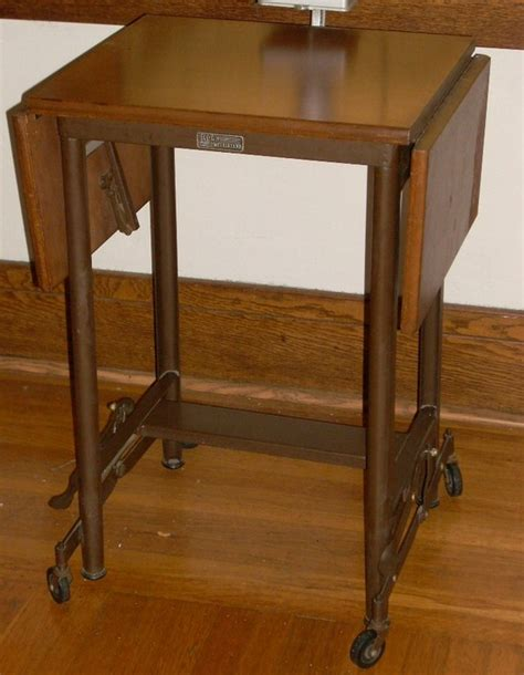 Typing Table by Industrial Metal With Wood Drop Leaf Typing By Diantiques