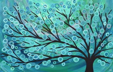 L A 3d Teal Dimension teal green turquoise abstract tree painting 30 x 20