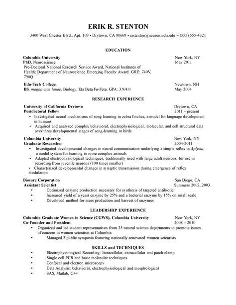 Curriculum Vitae Exle For Graduate School Applicant Curriculum Vitae Curriculum Vitae Template Scientific