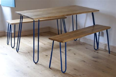 Hairpin Dining Table And Bench Hairpin Legs Refreshing Mid Century Furniture Remakes