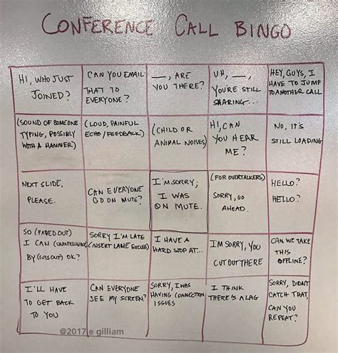 a clever bingo card for people who spend a lot of time