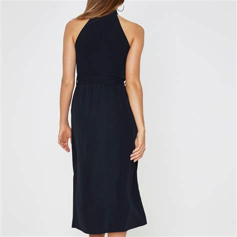 lyst river island navy high neck waisted midi dress in blue
