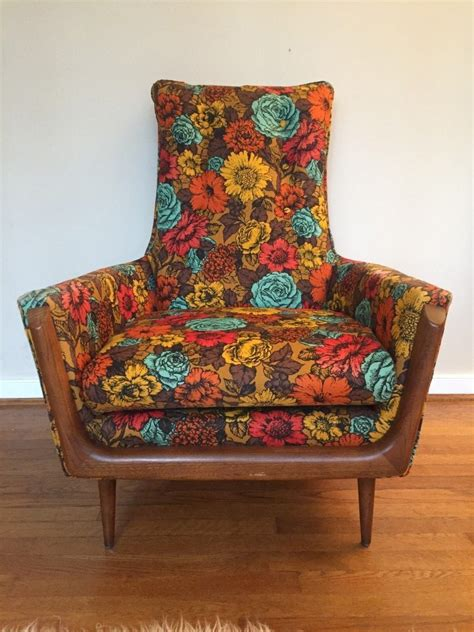 vintage mid century flower print arm chair   style  adrian pearsall epoch