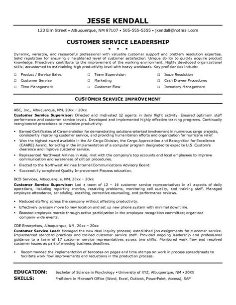 exle customer service supervisor customer service