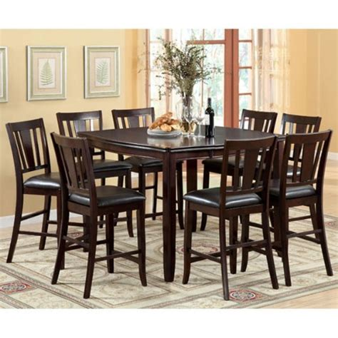 9pc dining room set ethan espresso finish transitional style 9 piece counter