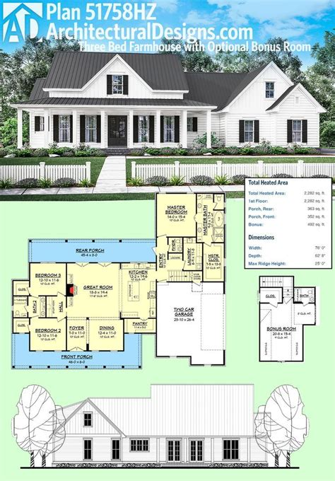 architecture plans architectural designs plan 51758hz is a 3 bed farmhouse with an optional bonus room the