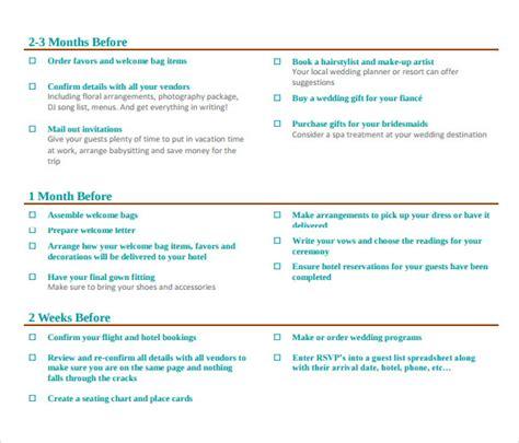 Wedding Planner Pdf by Sle Wedding Planning Checklist 6 Documents In Pdf Word