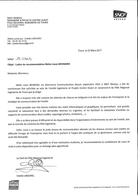 Prã Sentation Lettre Lettre De Recommandation Estelle Libourel